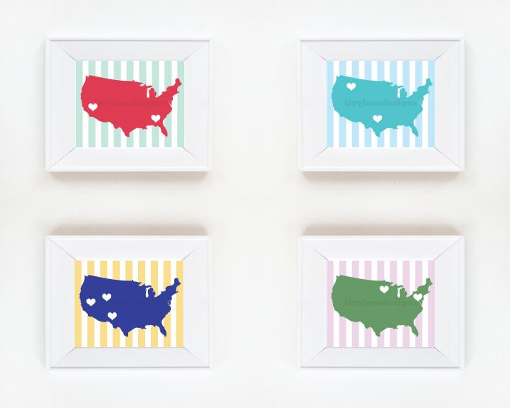 8 x 10 Map of America Print